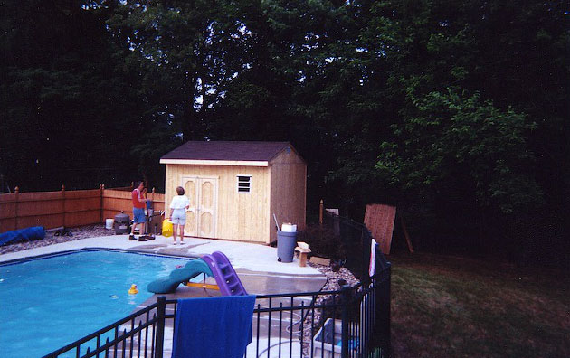 Carriage House Shed by Pool